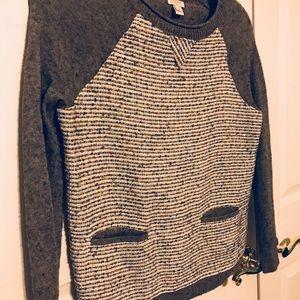 J. Crew Merino Wool Sequin Front Gray Sweater